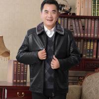冬季中年男士加绒加厚皮衣中老年人男装外衣爸爸冬装保暖翻领外套