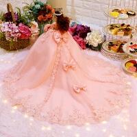 婚纱娃娃套装礼盒大厘米单个仿真公主女孩儿童玩具生日礼物洋娃娃 姗姗公主 拖尾款(玉粉色) *盒礼袋