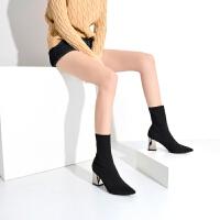 袜靴女粗跟小短靴女春秋2019新款高跟鞋瘦瘦靴尖头袜子靴弹力靴 电镀粗跟7公分