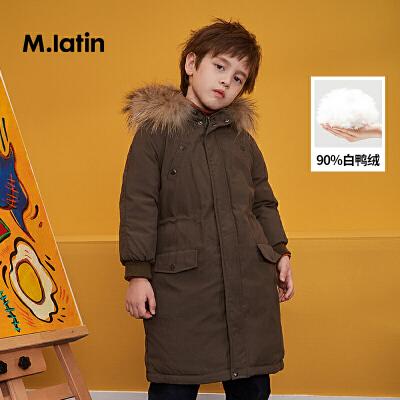 【券后预估价:221】马拉丁童装男童中长羽绒服冬装新品时尚毛领设计儿童保暖羽绒