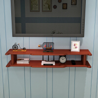 挂墙电视柜海棠色 创意小户型卧室挂墙壁挂电视柜背景墙实木置物架墙上机顶盒架隔板