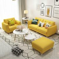 北欧布艺沙发组合日式客厅沙发转角 组合可拆洗三人双人单人卧室沙发