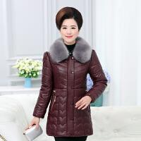 中老年女装新款PU皮衣冬装外套加厚中年妈妈装棉衣中长款羽绒