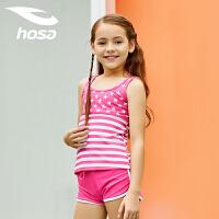 浩沙hosa�和�泳衣女童分�w平角游泳衣可�����中小童三件套�b