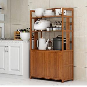 幽咸家居 厨房置物架落地式多层微波炉架子楠竹收纳架放锅烤箱家用省空间