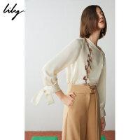【2件4折到手价:191.6元】 Lily春新款女装不对称斜领印花拼接宽松套头衫119110A8262