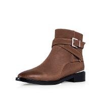 爱旅儿复古女鞋帅气军靴擦色低跟骑士短靴