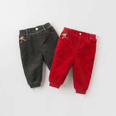 [领劵400减80]【加绒】davebella戴维贝拉2019冬新款男女童宝宝裤子DB12216