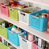 加厚长形浴室厨房桌面筐39.5*20.5*19.5CM 整理桌面框置物篮塑料框收纳桌面盒 特大号蓝色