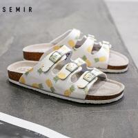 Semir拖鞋女00年春季新款休闲鞋时尚拖鞋方扣菠萝印花沙滩鞋女