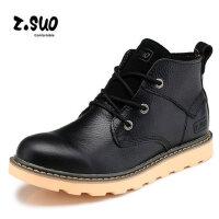 Z.Suo/走索男靴英伦马丁靴男皮靴工装靴军靴复古短靴潮高帮男鞋zs362黑
