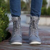 休闲鞋牛仔靴秋季男高帮帆布男马丁靴潮靴韩版潮流牛仔布靴男士