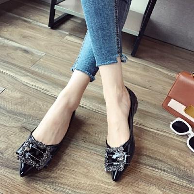 春秋鞋女新款单鞋水钻平底鞋尖头内增高女鞋浅口鞋大码鞋