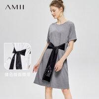 【3折到手价123元】Amii极简日系chic小个子连衣裙2019夏季新撞色腰带圆领短袖T恤裙