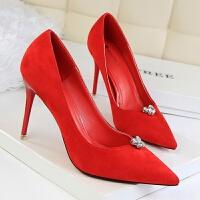 浅口尖头绒面水钻单鞋高跟鞋韩版时尚简约秀气性感细跟高跟