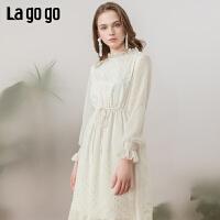 【清仓5折价328】Lagogo/拉谷谷2019春新款领口袖口木耳边连衣裙女IALL43ZG53