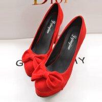 走秀高跟鞋女防水台蝴蝶结浅口粗跟10cm夜店性感绒面红色结婚单鞋