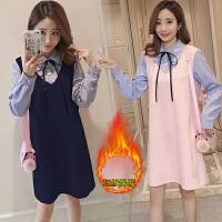 孕妇装冬装加绒保暖上班孕妇连衣裙中长款裙韩版孕妇职业工装裙