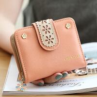 女士钱包短款钱包女新款女韩版学生折叠简约镂空拉链手拿女包