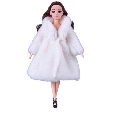 芭比娃娃衣服冬季 娃娃娃的时尚衣服休闲套装 冬季外套皮草大衣 女孩玩具  单买衣服