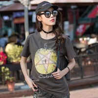 新款夏季时尚印花棉韩板女士上衣 韩版女装t恤衫
