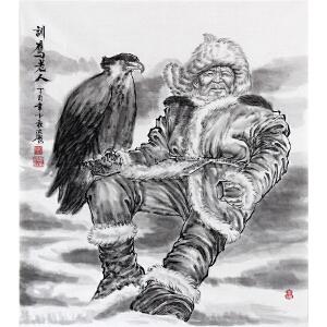 《训鹰老人》葛红彪 西安美院 专职画师ML1727FOO
