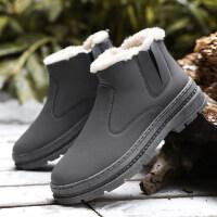 休闲高帮松紧带加厚保暖短靴子学生冬季棉鞋男加绒男士雪地靴男鞋