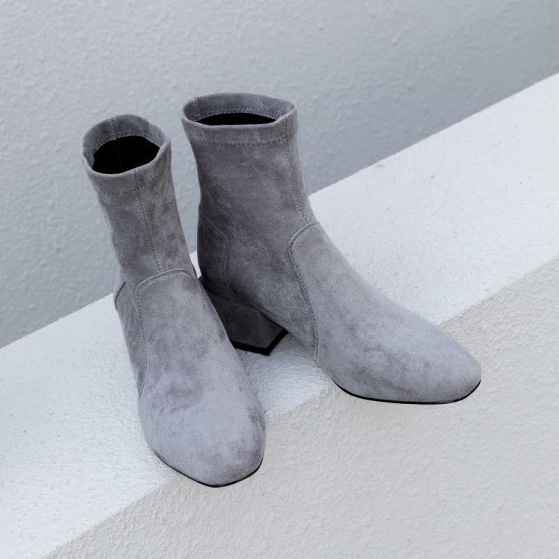 sw2019秋季新款韩版方头弹力靴女瘦瘦靴粗跟中跟短靴子单靴踝靴子