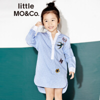 littlemoco女童装撞色立领刺绣章仔条纹衬衫连衣裙KA171DRS101 moco