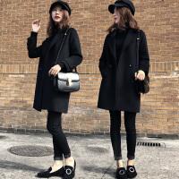 【爆款亏本卖】赫本毛呢外套女中长款2019秋冬新款修身显瘦小个子茧型黑呢子大衣