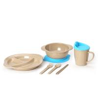 当当优品 壳氏唯稻壳环保儿童餐具套装 筷叉勺水杯进口宝宝婴儿吸盘碗 2(海蓝)
