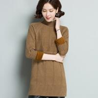 妈妈冬装加厚加绒保暖毛衣中年女装半高领打底衫中长款洋气连衣裙