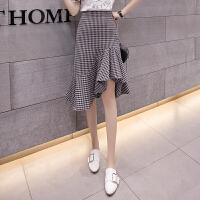 格子半身裙春夏季新款韩版高腰中长款不规则包臀chic鱼尾裙女
