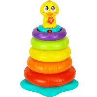 彩虹圈玩具发光儿童叠叠乐婴儿套杯鸭子10个月宝宝玩具 897