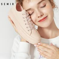Semir帆布鞋女2020年春季新款休闲鞋时尚潮鞋低帮鞋冰淇淋粉女鞋