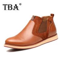 TBA男鞋英伦休闲皮鞋高帮男士马丁靴短靴真皮靴子布洛克高帮鞋男5876