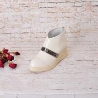真皮单靴时尚女短靴欧美秋冬高跟裸靴全真皮坡跟尖头女鞋百搭踝靴
