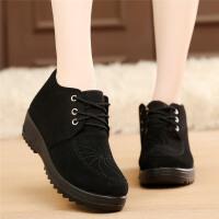 冬季老北京布鞋女鞋平底加绒豆豆鞋保暖工作鞋滑毛毛鞋 黑色529 标准码