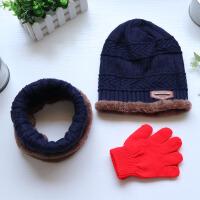 儿童帽子围脖秋冬季男童女童加绒加厚保暖套头帽围巾送手套冬天