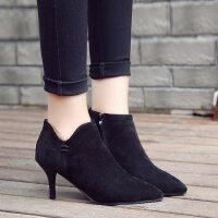 马丁靴女中跟5厘米学生英伦风磨砂尖头显瘦细跟高跟鞋单根短靴潮