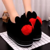 棉拖鞋女包跟冬季厚底时尚可爱毛毛鞋居家室内拖鞋女保暖高跟棉
