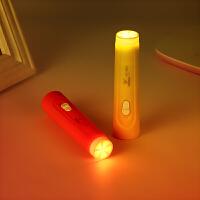 雅格LED锂电迷你强光充电小手电筒家用超亮儿童学生便携3849