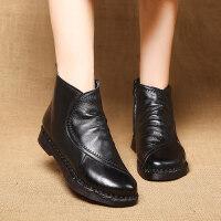 中老年妈妈棉鞋女冬加绒保暖棉靴二棉平底短靴软底