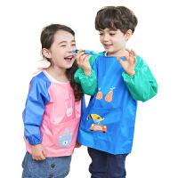 儿童罩衣夏季薄款女童饭兜防水反穿衣吃饭宝宝围裙画画衣围兜男童