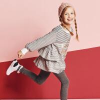 davebella戴维贝拉kids春季新款女童T恤 中大童裙式上衣DBK10673
