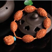 天然橄榄核橄榄胡精雕荷叶莲花蓬蓬原创佛珠款式手链手串拍卖