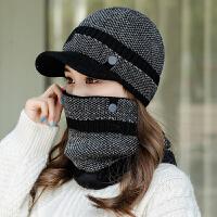 针织鸭舌帽子女秋冬季韩版潮保暖围脖百搭冬天防寒女士毛线帽套装