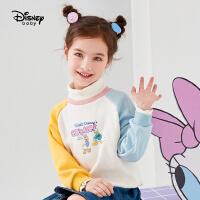 618【2件4折:71.6元】迪士尼女童加绒假两件卫衣秋冬时尚洋气卡通拼接儿童宝宝上衣