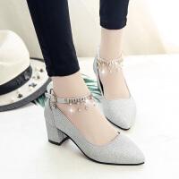 时尚新款韩版百搭法式少女尖头浅口高跟鞋chic一字扣粗跟单鞋