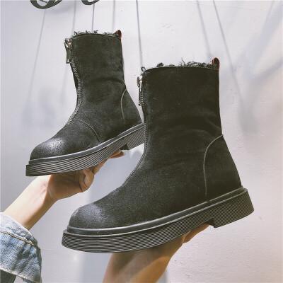 雪地靴女2018秋冬季新款厚度中筒短靴百搭韩版休闲女靴加绒棉靴子